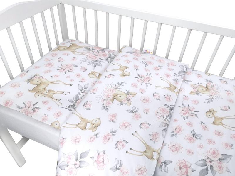 Baby Nellys 2-dílné bavlněné povlečení, Srnka a růže - růžová