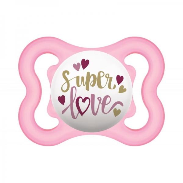 Symetrický dudlík Mam Air 2 - 6 m - Super love, růžový