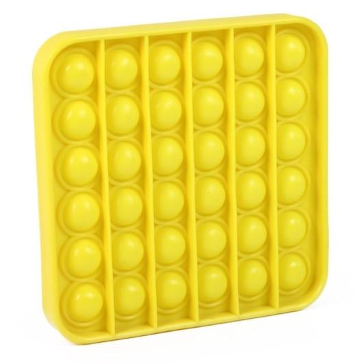 Pop It - Praskající bubliny silikon antistresová spol. hra, čtverec, žlutá