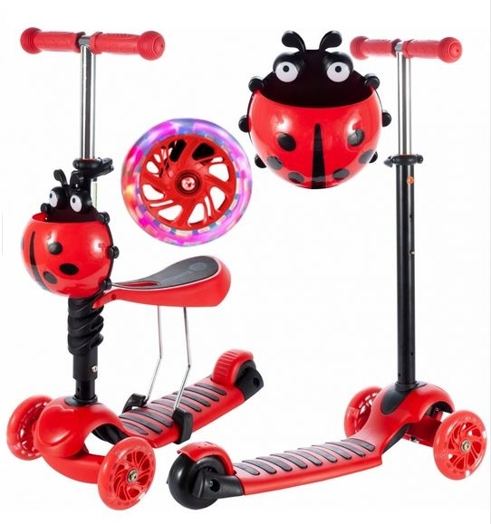 Tulimi Dětská koloběžka 2v1 Ladybird, červená