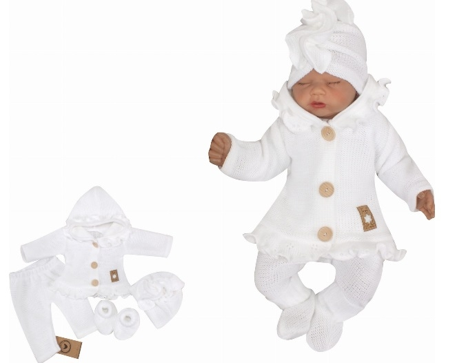 Z&Z 4-dílná pletená soupravička, kabátek, tepláčky, čepička a botičky, bílá vel. 62