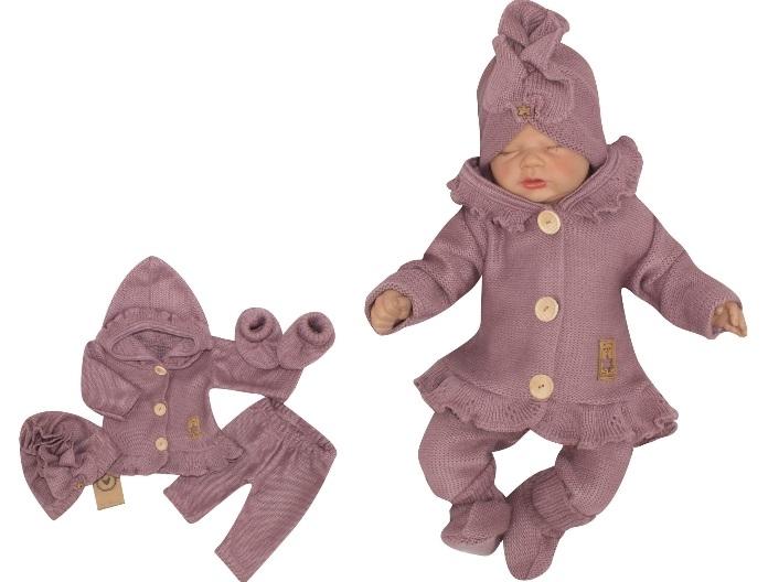 Z&Z 4-dílná pletená soupravička, kabátek, tepláčky, čepička a botičky, fialová, vel. 62