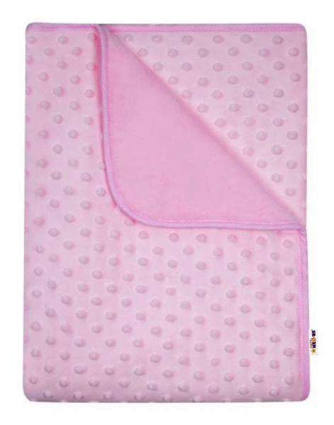 Baby Nellys Dětská luxusní oboustranná deka s minky 80x90 cm, růžová