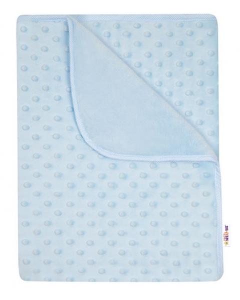 Baby Nellys Dětská luxusní oboustranná deka s minky 80x90 cm, modrá