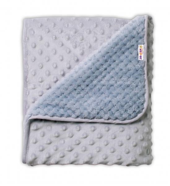 Baby Nellys Dětská luxusní oboustranná deka s minky 80x90 cm, šedá