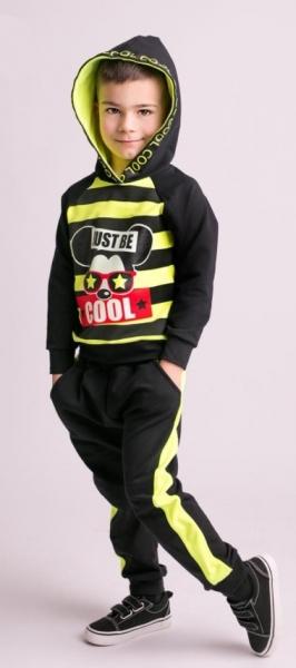 G-baby Stylová bavlněná tepláková souprava Niko - neon.žlutá/černá, vel. 80, Velikost: 80 (9-12m)