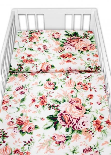 Baby Nellys 2-dílné bavlněné povlečení - Růže, bílá, vel. 135x100