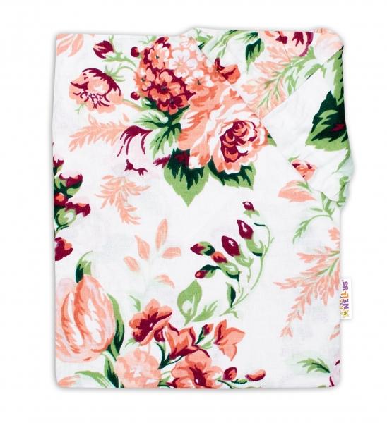 Baby Nellys Bavlněné prostěradlo 60 x 120 - Růže, bílá