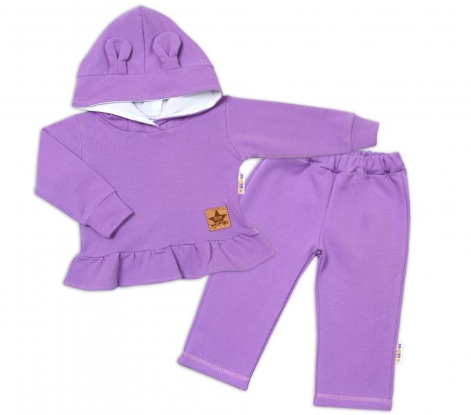 BABY NELLYS Dětská tepláková souprava s kapucí a oušky, lila, vel. 80