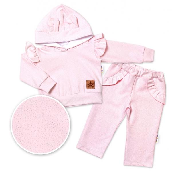 BABY NELLYS Dětská tepláková souprava s kapucí, volánky a oušky, růžová, Velikost: 74 (6-9m)