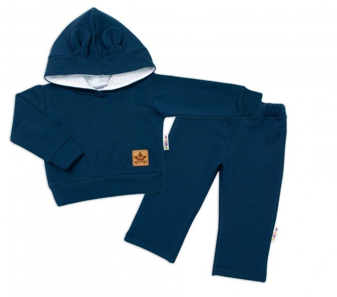 BABY NELLYS Dětská tepláková souprava s kapucí a oušky, granátová, vel. 92