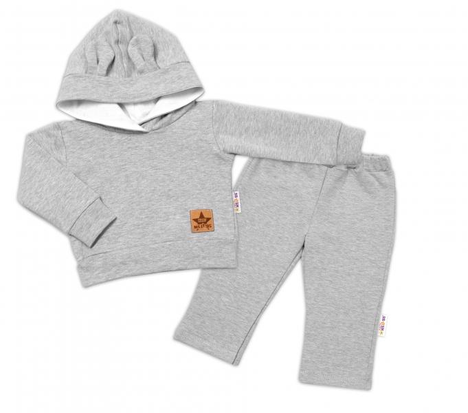 BABY NELLYS Dětská tepláková souprava s kapucí a oušky, šedá, vel. 86, Velikost: 86 (12-18m)