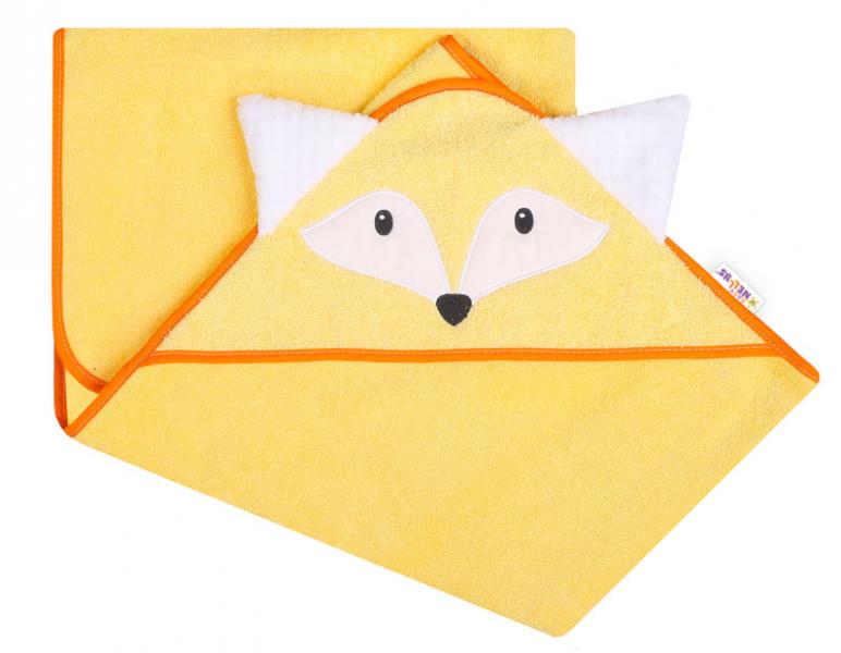 Baby Nellys Froté osuška s kapucí 100 x 100 cm Liška - žlutá