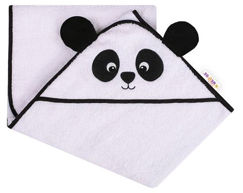 Baby Nellys Froté osuška s kapucí 100 x 100 cm Panda - bílá