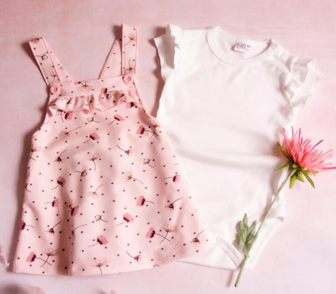 K-Baby Sada/Kojenecké body + sukně s láclem, Vlčí mák - růžová/bílá