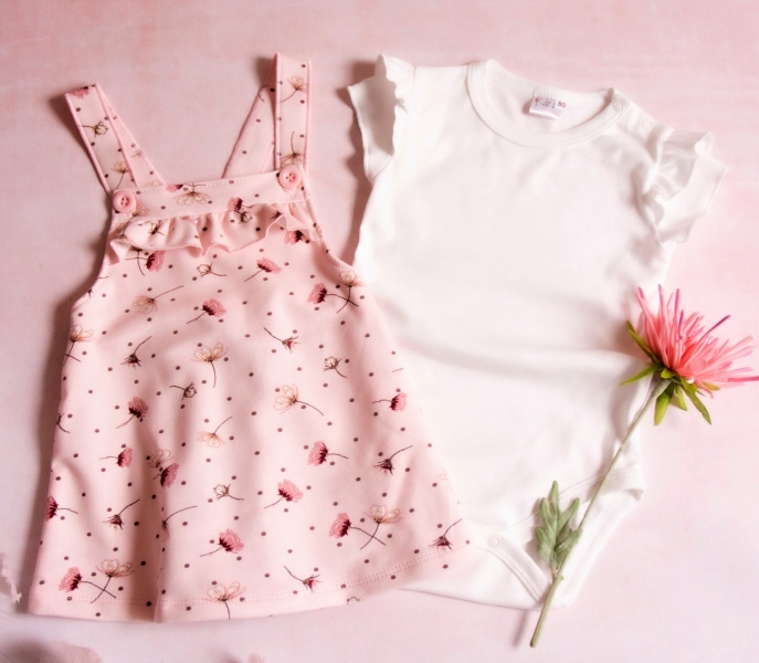 K-Baby Sada/Kojenecké body + sukně s láclem, Vlčí mák - růžová/bílá, vel. 92