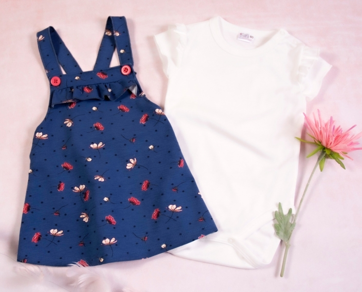 K-Baby Sada/Kojenecké body + sukně s láclem, Vlčí mák - modrá/bílá, vel. 80
