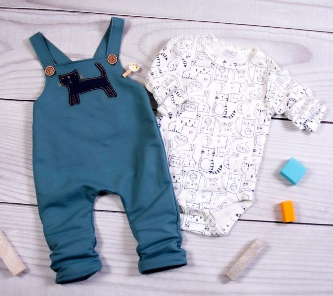K-Baby Sada/Kojenecké body + lacláče, Kocour, petrolejová/smetanová, vel. 86