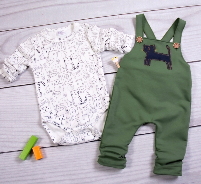 K-Baby Sada/Kojenecké body + lacláče, Kocour, olivová/smetanová, vel. 68