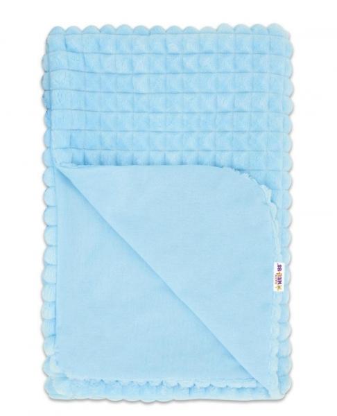 Baby Nellys Luxusní bavlněná dečka s minky 75x75cm, modrá/modrá