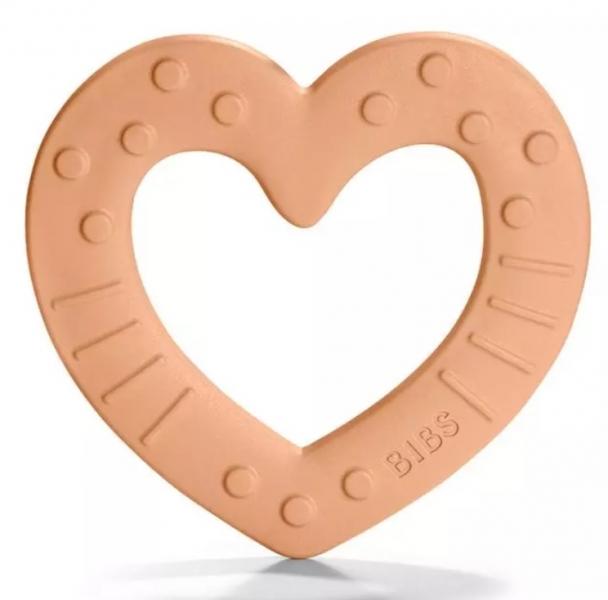 BIBS Baby Bitie Heart Peach - Silikonové kousátko Srdíčko - meruňkové