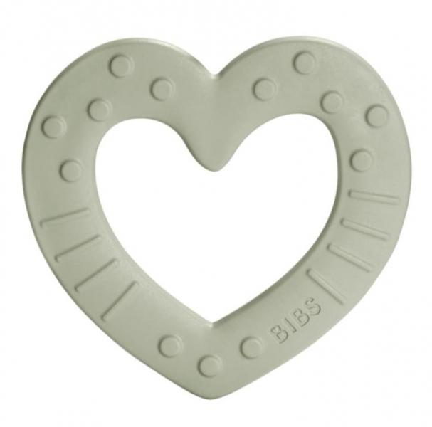 BIBS Baby Bitie Heart Sage - Silikonové kousátko Srdíčko - šedé/olivové