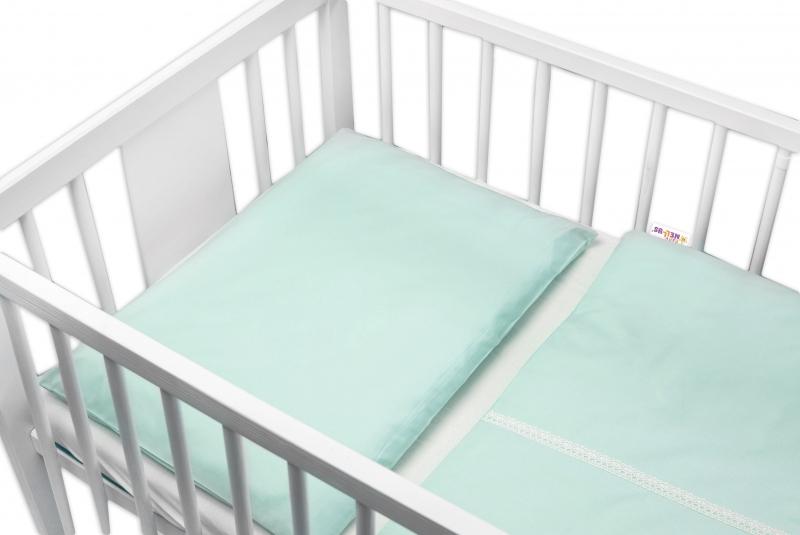 Baby Nellys Luxusní 2-dílné bavlněné povlečení - Royal Baby - mátové