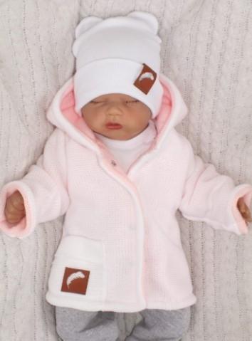 Z&Z Pletený, oboustranný svetřík, kabátek růžovo-bílý, vel. 80