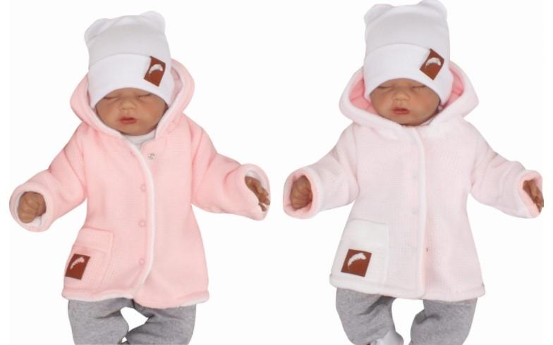 Z&Z Pletený, oboustranný svetřík, kabátek s kapucí, růžovo-bílý, vel. 86