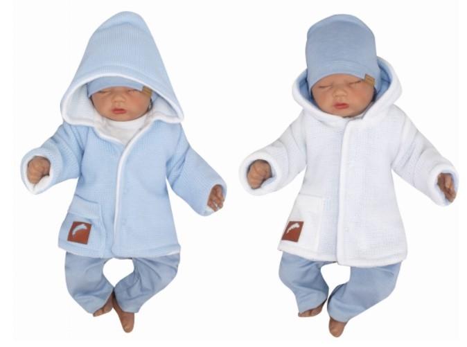 Z&Z Pletený, oboustranný svetřík, kabátek s kapucí, modro-bílý, vel. 80