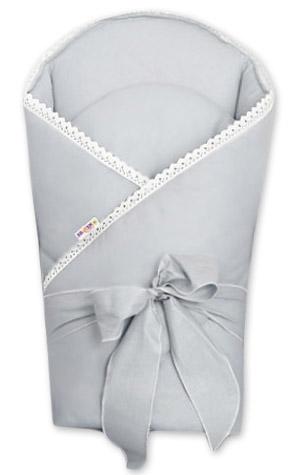 Baby Nellys Luxusní zavinovačka s výztuží 80 x 80 cm a stuhou Royal Baby, šedá