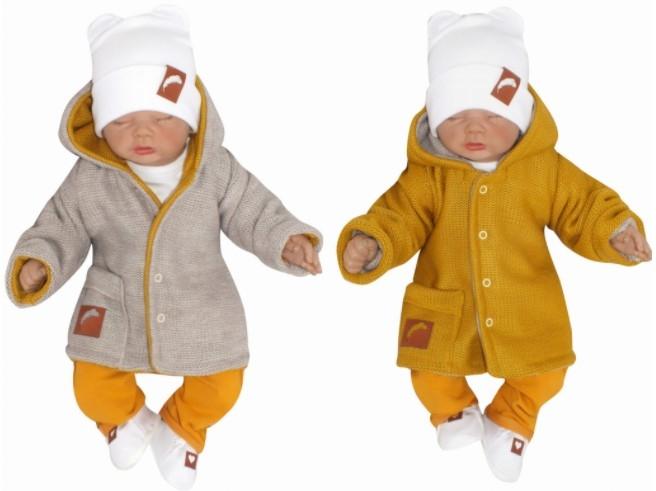 Z&Z Pletený, oboustranný svetřík, kabátek s kapucí, hořčicovo-béžový, vel. 68