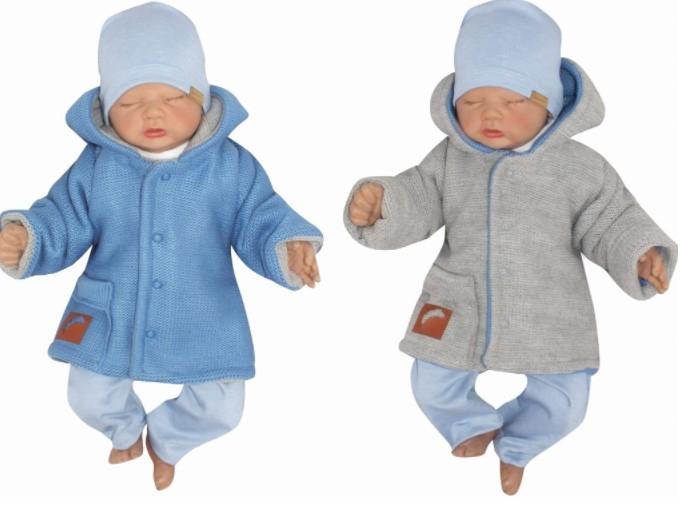 Z&Z Pletený, oboustranný svetřík, kabátek s kapucí, modro-šedý, vel. 80