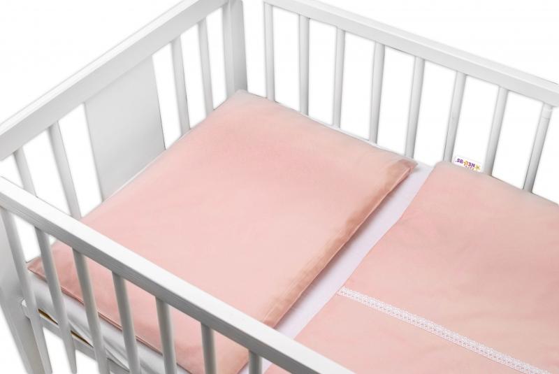 Baby Nellys Luxusní 2-dílné bavlněné povlečení - Royal Baby - pudrové