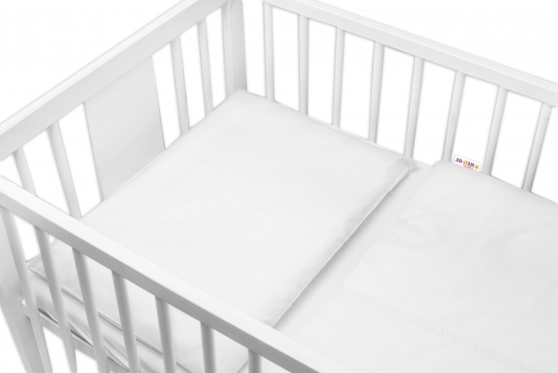 Baby Nellys Luxusní 2-dílné bavlněné povlečení - Royal Baby - bílé