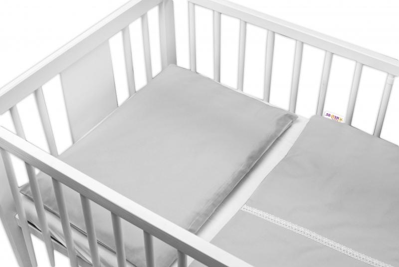 Baby Nellys Luxusní 2-dílné bavlněné povlečení - Royal Baby - šedé