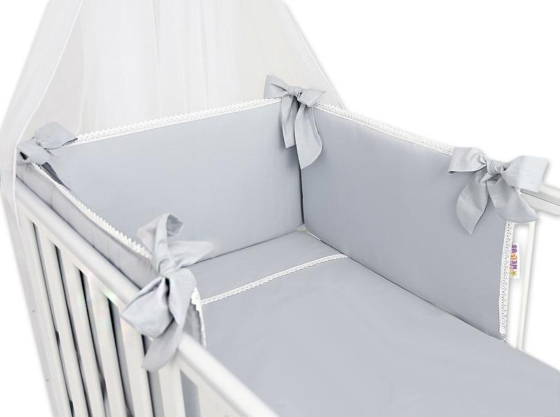 Baby Nellys Luxusní 3-dílná sada Mantinel s povlečením Royal Baby - šedá