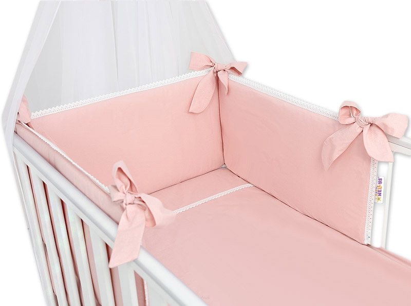 Baby Nellys Luxusní 3-dílná sada Mantinel s povlečením Royal Baby - pudrová