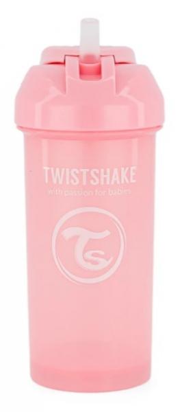 Láhev s brčkem Twistshake - 6m+, 360 ml, růžová