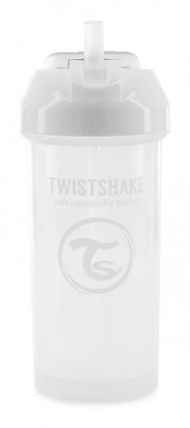 Láhev s brčkem Twistshake - 6m+, 360 ml, bílá