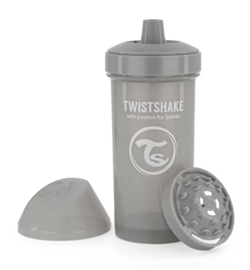 Láhev pro děti Twistshake se sítkem, 12 m+, 360 ml, šedá