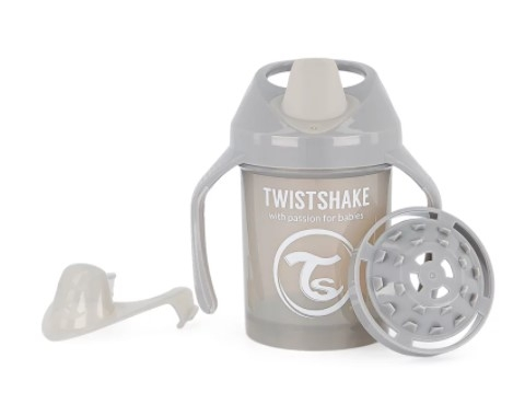 Nekapající hrneček Twistshake se sítkem, 4m+, 230ml, šedý