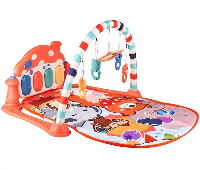 Tulimi Hrající interaktivní podložka s hrazdičkou a chrasítky, Domeček, oranžová