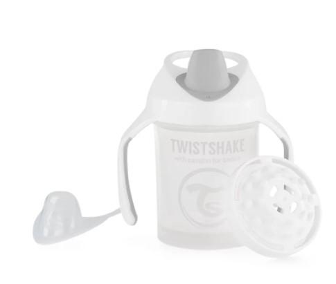 Nekapající hrneček Twistshake se sítkem, 4m+, 230ml, bílý