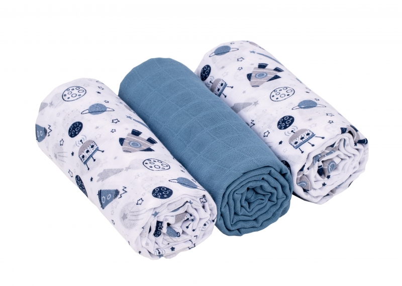 Baby Nellys Mušelínové pleny 3ks Lux - Kosmo, 70 x 80 cm, modrá, bílá