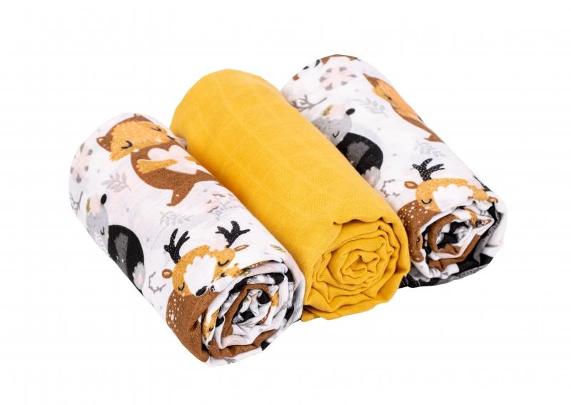Baby Nellys Mušelínové pleny 3ks Lux - Forest, 70 x 80 cm, žlutá, bílá