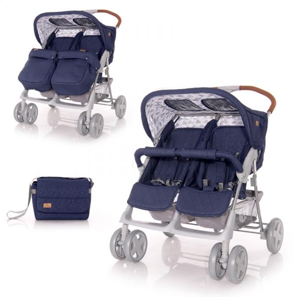 Kočárek Lorelli TWIN DARK BLUE CLOUDS+Taška na kočárek