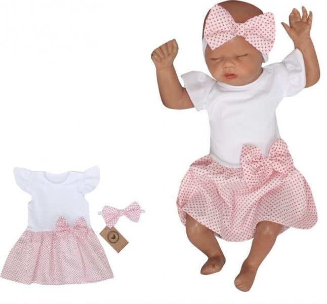 Z&Z 2-dílná sada sukničkobody kr. rukáv s mašli + čelenka - bílá, růžová, vel. 68