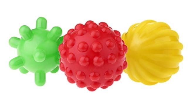 TULLO Edukační barevné míčky 3ks v balení - zelený/červený/žlutý
