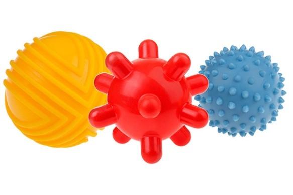 TULLO Edukační barevné míčky 3ks v balení, žlutý/červený/modrý